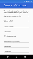 screenshot of HTC Account—Services Sign-in