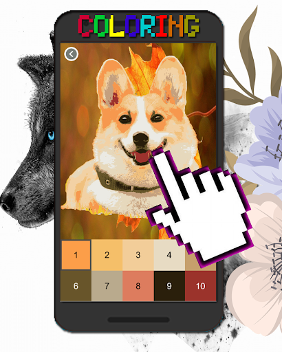 Dog Animal Coloring By Number-Pixel Art  screenshots 3