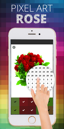 Rose Flower Pixel Coloring By Number  screenshots 2