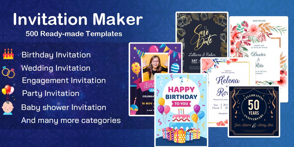 Invitation maker 2020 Birthday & Wedding card Free  poster 0