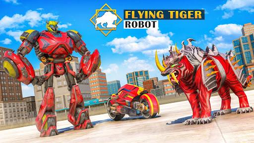 Flying Tiger Robot Attack: Flying Bike Robot Game apktram screenshots 12