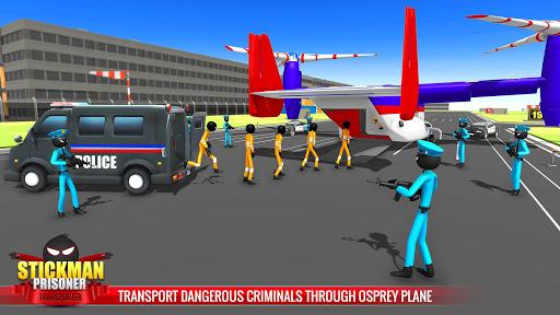 US Police Stickman Criminal Plane Transporter Game 4.7 screenshots 4