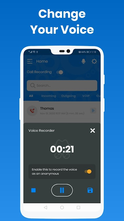 Call Recorder & Anonymous Voice - IntCall ACR  poster 4