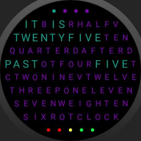 Word Clock Watch Face screenshot 6