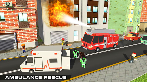 Blocky US Fire Truck & Army Ambulance Rescue Game apkmr screenshots 3