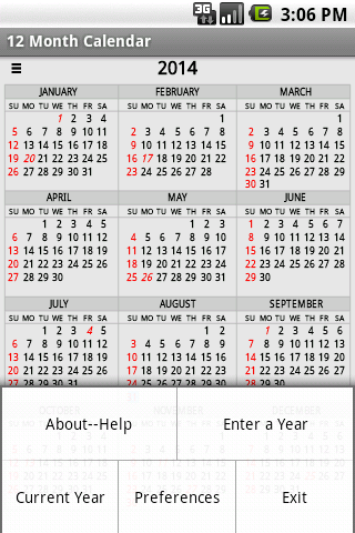 Twelve Month Calendar ss2