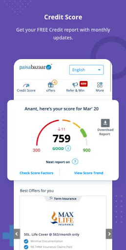 Free Credit Score, Loans, Cards & Mutual Funds  screenshots 1