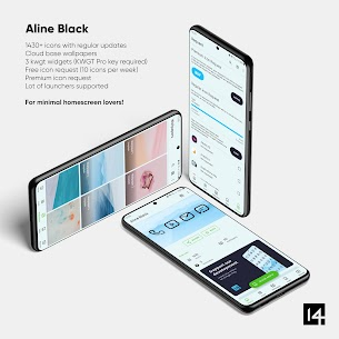 Aline Black icon pack – linear black icons v1.0 [Patched] 2