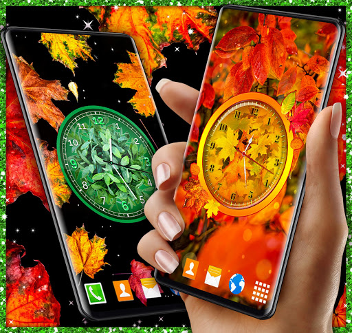 Leaves Clock App 🍃 Forest Live Wallpaper Themes  screenshots 1