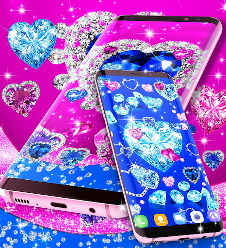 Blue hearts crystal diamonds live wallpaper android2mod screenshots 5