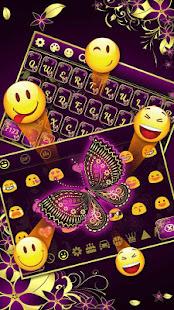 Purple Gold Butterfly Keyboard