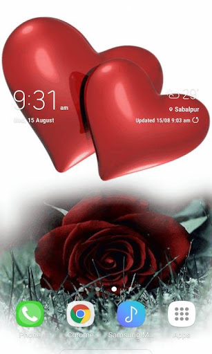 hearts with rose lwp screenshot 1