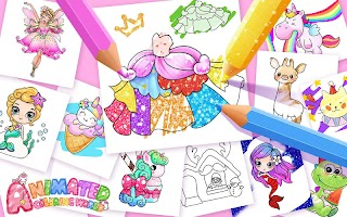 Animated Coloring for Kids - Unicorn and Princess
