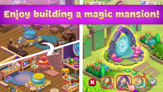 Charms of the Witch: Magic Mystery Match 3 Games Screenshot