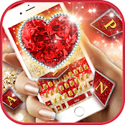 Golden Red Luxury Heart Keyboard Theme