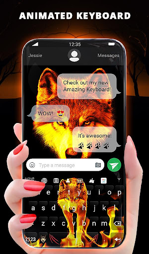 Fire Wallpaper and Keyboard - Lone Wolf android2mod screenshots 2