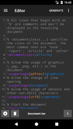 VerbTeX LaTeX Editor android2mod screenshots 1