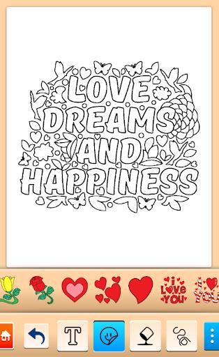 Valentines love coloring book  screenshots 3