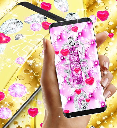 Golden luxury diamond hearts live wallpaper apktram screenshots 15