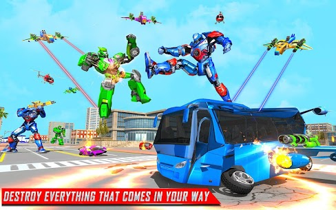 Flying Bus Robot Transform War Mod Apk- Police Robot (Dumb Enemy) 2
