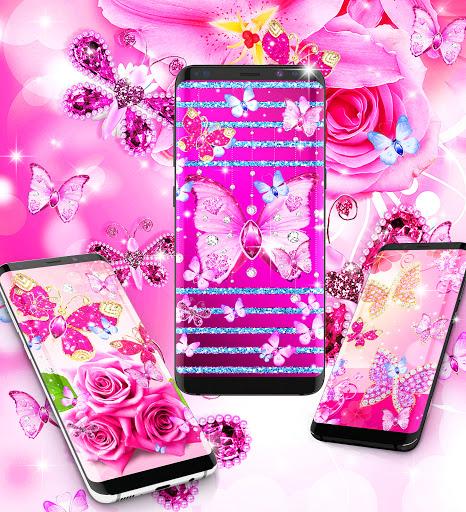 Diamond butterfly pink live wallpaper apktram screenshots 7