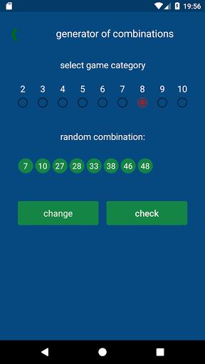 KENO - combinations statistics 1.1.4 6