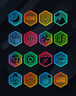 Lines Hexa - Neon Icon Pack - Phone Preview
