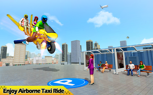 Flying Hover Bike Taxi Driver City Passenger Sim screenshots 15