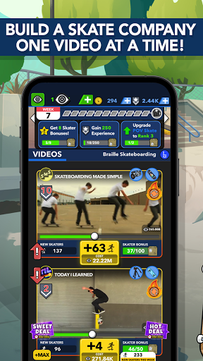 Braille Skateboarding Origins: Idle Skate Game apkdebit screenshots 1