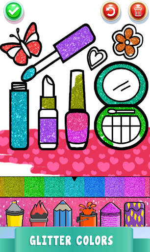 Beauty Drawing Pages Make Up Coloring Book Glitter  Screenshots 2