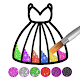 Glitter dress coloring and drawing book for Kids icon