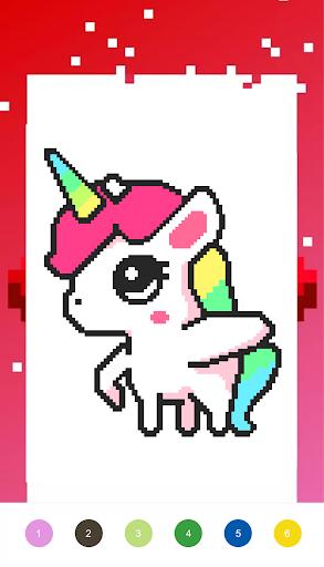 Unicorn Art Pixel - Color By Number  Screenshots 4