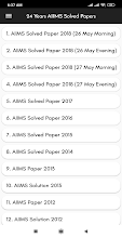24 Years AIIMS Solved Papers Offline screenshot thumbnail