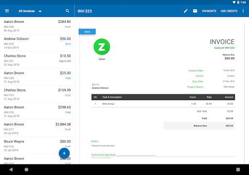 Zoho Invoice - Online Invoicing & Billing Software 5.23.09 Screenshots 9