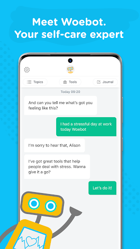 Woebot: Your Self-Care Expert android2mod screenshots 1