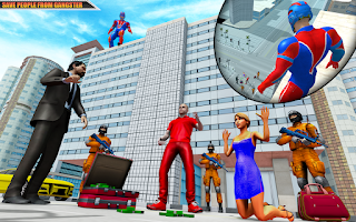 Flying Robot Superhero: Rescue City Survival Games