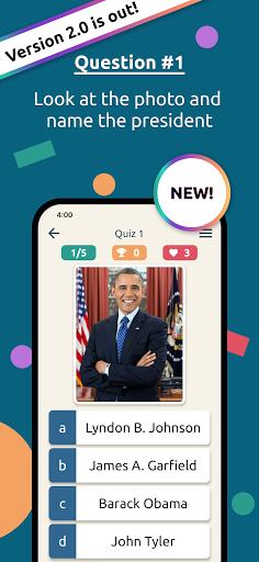 US States & Presidents Quiz – USA History Trivia apktreat screenshots 1