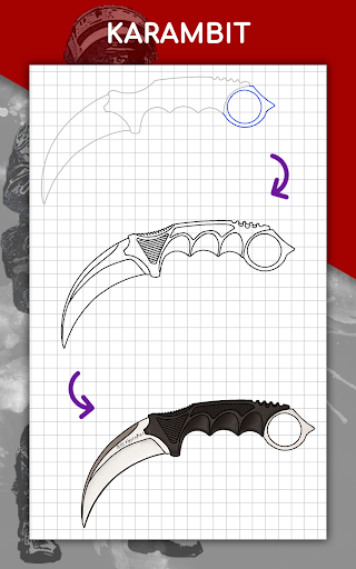 How to draw weapons step by step, drawing lessons  screenshots 14
