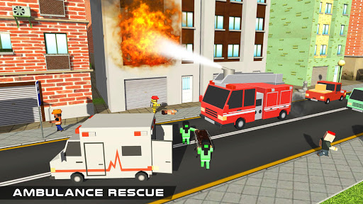 Blocky US Fire Truck & Army Ambulance Rescue Game apkmr screenshots 9