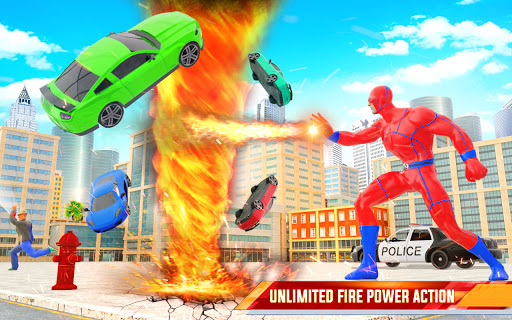 Flying Police Robot Fire Hero: Gangster Crime City apkslow screenshots 5