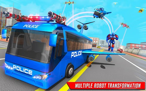 Flying Bus Robot Transform War Mod Apk- Police Robot (Dumb Enemy) 10