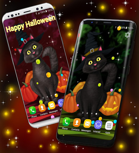 halloween wallpaper 🎃 black cat live wallpapers screenshot 2