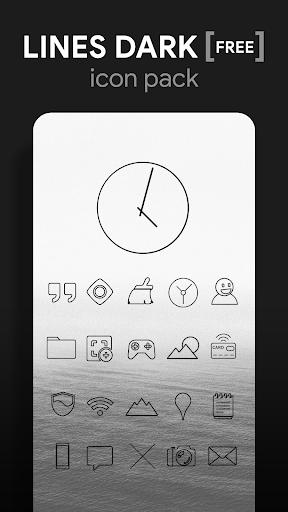 lines dark - black icons (free version) screenshot 1