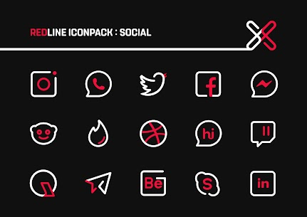 RedLine Icon Pack Pro Apk: LineX 2.7 (Patched) 3