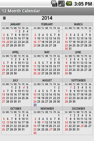 Twelve Month Calendar ss1
