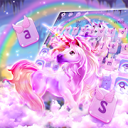 Colorful Rainbow Unicorn Keyboard Theme