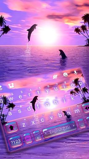 Sunset Sea Dolphin Keyboard Theme  screenshots 1