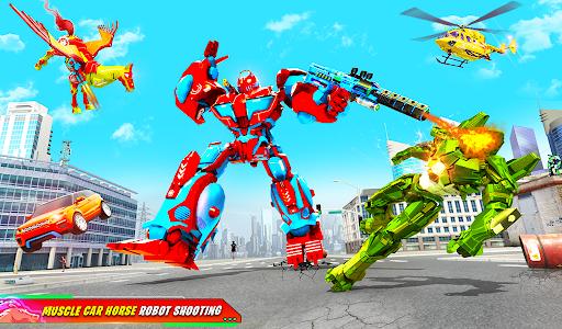 Flying Muscle Car Robot Transform Horse Robot Game apktram screenshots 7