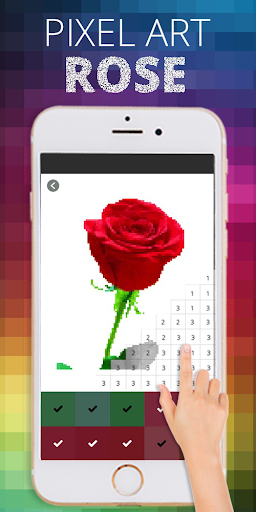 Rose Flower Pixel Coloring By Number  screenshots 3