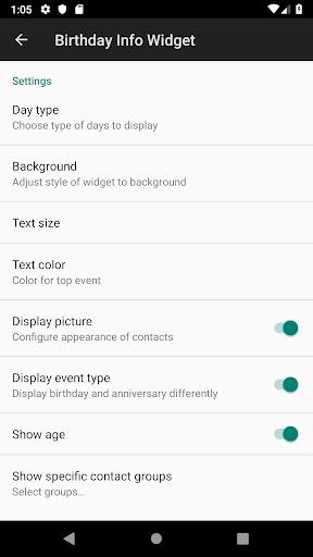 birthday info widget screenshot 2